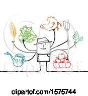 Stick Man Farmer With Gardening Tools A Chicken And Produce