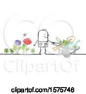 Poster, Art Print Of Stick Man Gardener With A Wheelbarrow And Tools