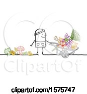 Stick Man Gardener With A Wheelbarrow Mushrooms Grapes Leaves And Tools