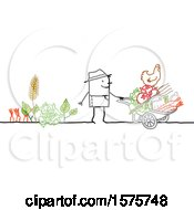 Stick Man Farmer With A Wheelbarrow And Tools