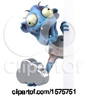 Clipart Of A 3d Blue Zombie Holding A Cloud On A White Background Royalty Free Illustration by Julos