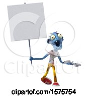 Clipart Of A 3d Blue Zombie Holding A Wrench On A White Background Royalty Free Illustration by Julos