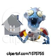 Clipart Of A 3d Blue Zombie Holding A House On A White Background Royalty Free Illustration by Julos