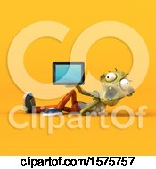 Clipart Of A 3d Zombie Holding A Tablet On A Yellow Background Royalty Free Illustration by Julos