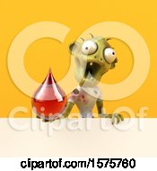 Clipart Of A 3d Zombie Holding A Blood Drop On A Yellow Background Royalty Free Illustration by Julos