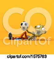 Clipart Of A 3d Zombie Holding A Soccer Ball On A Yellow Background Royalty Free Illustration by Julos