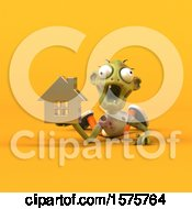 Clipart Of A 3d Zombie Holding A House On A Yellow Background Royalty Free Illustration by Julos