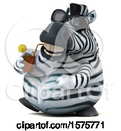 Clipart Of A 3d Zebra Drinking A Beverage On A White Background Royalty Free Illustration