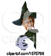 Clipart Of A 3d Sexy Green Witch Holding A Euro On A White Background Royalty Free Illustration by Julos