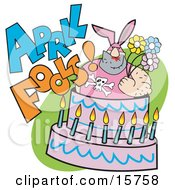 Tough Man In A Bunny Suit Holding Flowers And Popping Out Of An April Fools Cake Clipart Illustration