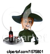 Clipart Of A 3d Sexy Green Witch Holding A Wine Tray On A White Background Royalty Free Illustration by Julos