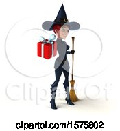 Clipart Of A 3d Sexy Blue Witch Holding A Gift On A White Background Royalty Free Illustration by Julos