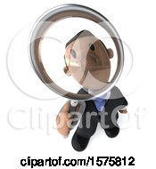 Clipart Of A 3d Indian Business Man Looking Up Through A Magnifying Glass On A White Background Royalty Free Illustration