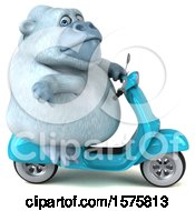 Poster, Art Print Of 3d White Monkey Yeti Riding A Scooter On A White Background