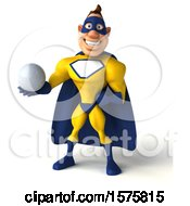 3d Yellow And Blue Super Hero Holding A Golf Ball On A White Background
