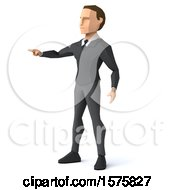 3d Low Poly Caucasian Business Man Pointing On A White Background