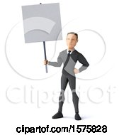 3d Low Poly Caucasian Business Man Holding A Sign On A White Background