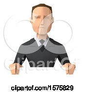 3d Low Poly Caucasian Business Man On A White Background
