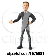 Clipart Of A 3d Low Poly Caucasian Business Man Presenting On A White Background Royalty Free Illustration