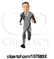 3d Low Poly Caucasian Business Man Running On A White Background