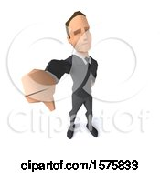 3d Low Poly Caucasian Business Man Holding Up A Thumb Down On A White Background