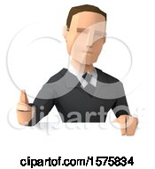 3d Low Poly Caucasian Business Man Giving A Thumb Up On A White Background