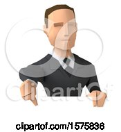 3d Low Poly Caucasian Business Man Giving A Thumb Down On A White Background
