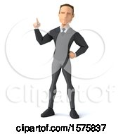 3d Low Poly Caucasian Business Man Holding Up A Finger On A White Background