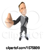 3d Low Poly Caucasian Business Man Holding Up A Thumb On A White Background