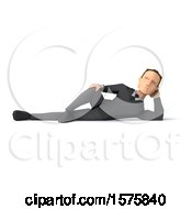 3d Low Poly Caucasian Business Man Resting On His Side On A White Background