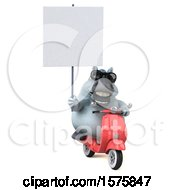 Clipart Of A 3d Chubby White Horse Riding A Scooter On A White Background Royalty Free Illustration