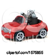 Poster, Art Print Of 3d Chubby White Business Horse Driving A Convertible On A White Background