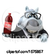 Poster, Art Print Of 3d Chubby White Business Horse Holding A Soda On A White Background