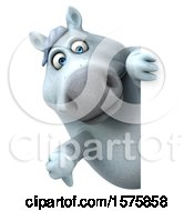 Poster, Art Print Of 3d Chubby White Horse Holding A Thumb Down On A White Background
