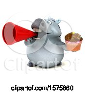 Poster, Art Print Of 3d Chubby White Horse Holding A Cupcake On A White Background