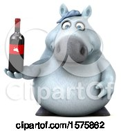 Poster, Art Print Of 3d Chubby White Horse Holding Wine On A White Background