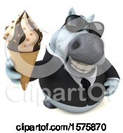 3d Chubby White Business Horse Holding A Waffle Cone On A White Background