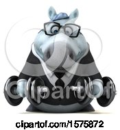 Poster, Art Print Of 3d Chubby White Business Horse Holding Dumbbells On A White Background