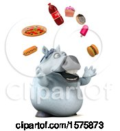 3d Chubby White Horse Juggling Junk Food On A White Background
