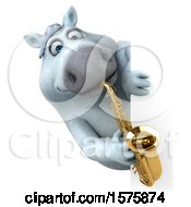 Poster, Art Print Of 3d Chubby White Horse Holding A Saxophone On A White Background