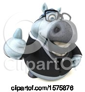 Poster, Art Print Of 3d Chubby White Business Horse Holding A Thumb Up On A White Background