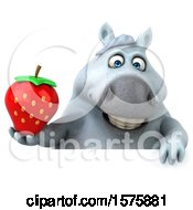 Poster, Art Print Of 3d Chubby White Horse Holding A Strawberry On A White Background