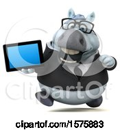 Poster, Art Print Of 3d Chubby White Business Horse Holding A Tablet On A White Background