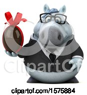 Poster, Art Print Of 3d Chubby White Business Horse Holding A Chocolate Egg On A White Background