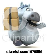 Clipart Of A 3d Chubby White Horse Holding Boxes On A White Background Royalty Free Illustration by Julos