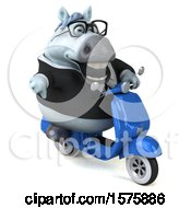 Clipart Of A 3d Chubby White Business Horse Riding A Scooter On A White Background Royalty Free Illustration