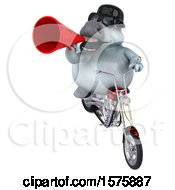 Poster, Art Print Of 3d Chubby White Horse Biker Riding A Chopper Motorcycle On A White Background