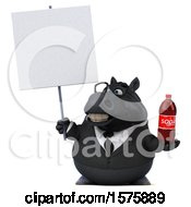 3d Chubby Black Business Horse Holding A Soda On A White Background
