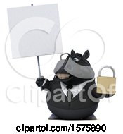 3d Chubby Black Business Horse Holding A Padlock On A White Background