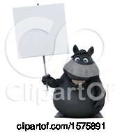 3d Chubby Black Horse Holding A Blank Sign On A White Background